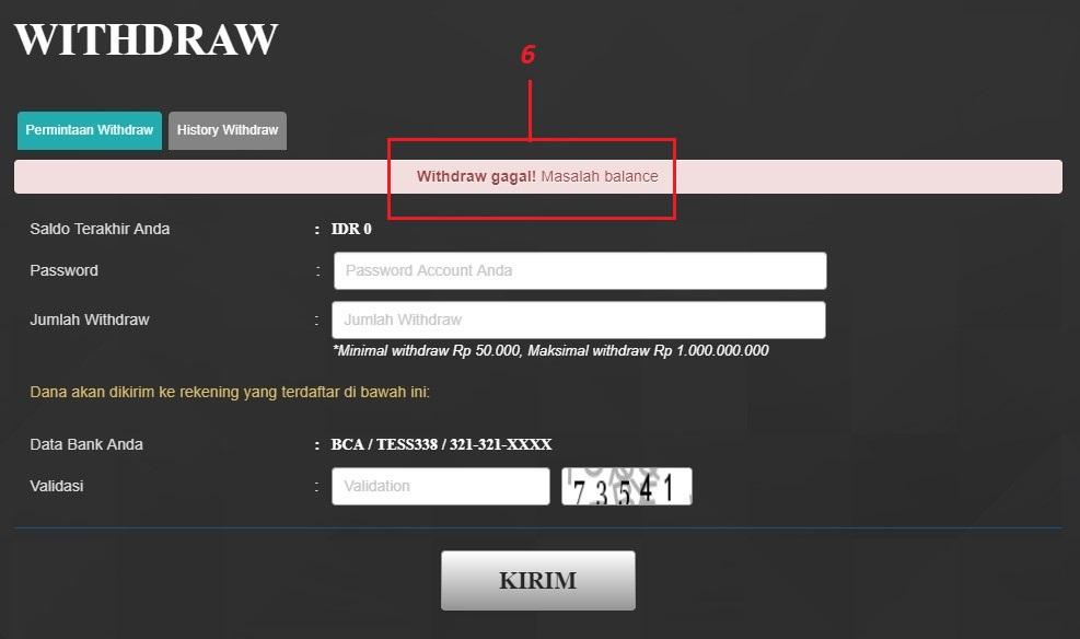 cara withdraw poker cc